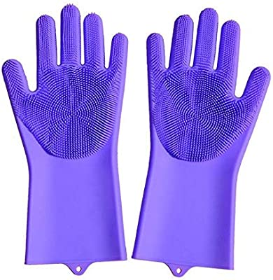 BKN® Dishwashing Gloves Food Grade Magic Rubber Silicone Scrubbing Gloves, Cleaning Gloves With Scrubber For Dishwashing And Pet Grooming (Purple)