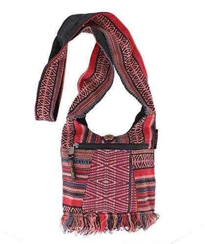 GURU-SHOP Bolso Pequeño Ethno Shoulder Bag, Hippie Bag, Goa Bag - Rojo, Unisex - Adultos, Algodón, Tamao:One Size, 17x20 cm, Bolsas con Bandolera