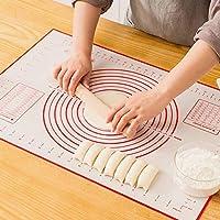 sinwind tappetino da forno in silicone (60x40cm), extra grande stuoia di rolling della pasticceria del silicone, antiaderente, resistente al calore, facile da pulire, riutilizzabile (rosso)