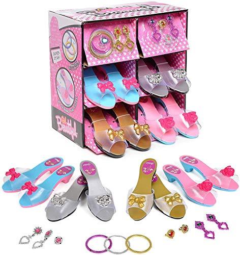 deAO Prinzessin Schuh und Schmuck Boutique mit 4 Paar Schuhe, Ringe, Armbänder und Ohrringe inklusive