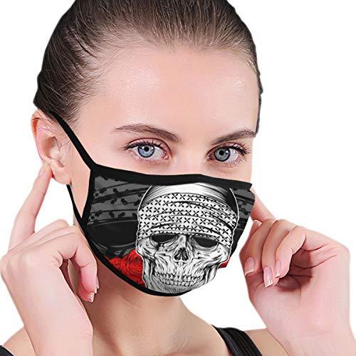 N/A Mond Masker Schedel Het dragen van Bandana Met Rose Volwassen Unisex Wasbaar Herbruikbaar Polyester Anti Stof Mond Masker In Packs