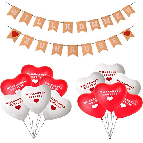 Willkommen Zuhause Banner,Herzlich Willkommen Girlande,Willkommen Zuhause Deko mit 20 Stück Willkommen Zuhause Luftballon für Zuhause, Party, Empfang