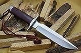 Cuchillo de caza de acero D2, modelo 1, hecho a mano, mango de micarta rojo