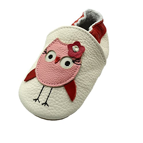 iEvolve Baby Babyschuhe Wildledersohle Baby Lederschuhe Lauflernschuhe Krabbelschuhe Vielzahl Art(Rot Eule,12-18 Monate)