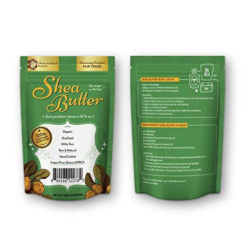 Miibox 100% Raw Unrefined Organic Shea Butter-African Grade A Ivory 1 Pound (16oz)