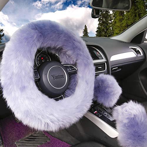 Yontree Fashion Fluffy Steering Wheel Covers for Women/Girls/Ladies Australia Pure Wool 15 Inch 1 Set 3 Pcs (Gray)