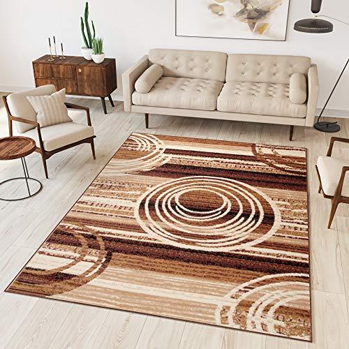 Tapiso Alfombra De Salón Moderna – Color Marrón Beige Diseño Retro Rayas Círculos – Varias Dimensiones S-XXXL 130 x 190 cm