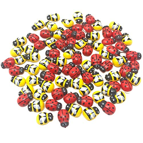 Mini 9x12mm Bees & Ladybirds Self Adhesive Wooden Bumble Bee & Ladybugs Craft Card Wood Topper (100)