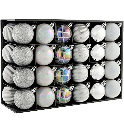 WeRChristmas Shatterproof Luxury Christmas Tree Baubles, 48-Piece - Silver/White/Pearl