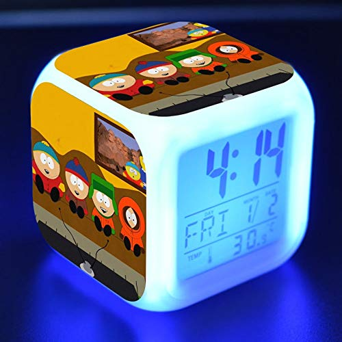 Zhuhuimin wekker voor kinderen, LED-licht, 7 kleurverandering, LED-display, wekker, vierkante tafel, retro, digitaal