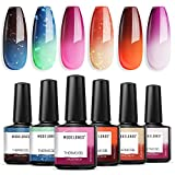 Modelones Mood Gel Nail Polish Set- Colors Collection Temperature Color Changing Gel Long-Lasting Glitter Valentine's Day Nail Varnish Long Lasting Soak Off Nail Lamp for Nail Art 6 Pcs 10ml
