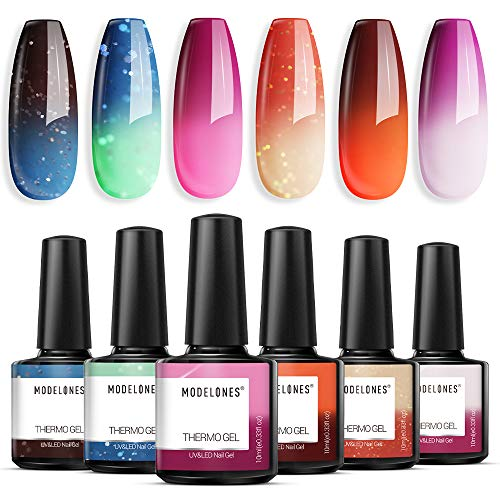 Modelones Mood Gel Nail Polish Set- Colors Collection Temperature Color Changing Gel Long-Lasting Glitter Nail Varnish Long Lasting Soak Off U V LED Lamp Manicure for Nail Art 6 Pcs 10 ml