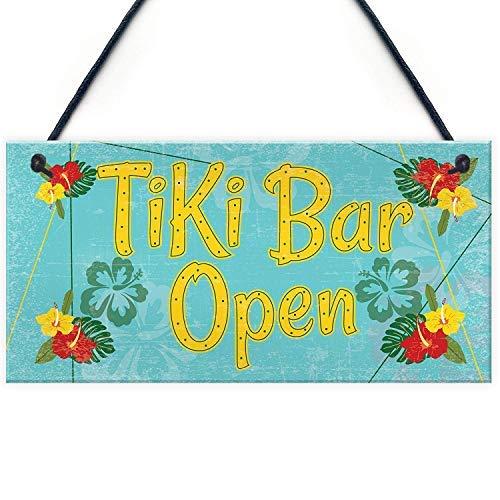qidushop Tiki Bar Open Hanging Bar Pub Bier Cocktails Strand Dekoration Freundschaft Geschenk Holzschild Home Wall Art Dekoration Schild