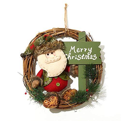 Cxssxling Corona de ratán de Navidad para colgar Papá Noel accesorios para colgar anillo de puerta decoración guirnaldas pared jardín boda muñeco de nieve alce muñeca corona