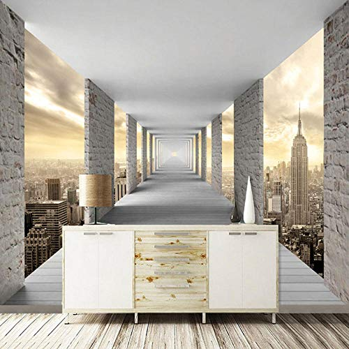 Moderne minimalistische Wandtapete 3D dreidimensionale geometrische Stadtarchitektur Fototapete Persönlichkeit kreative Wohnzimmer Schlafzimmer Wandbild-200 * 140cm