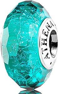 ATHENAIE Abalorio de cristal de Murano auténtico 925 con núcleo de plata facetada, fascinante iridiscencia, color verde azulado, brillante, compatible con todas las pulseras europeas.