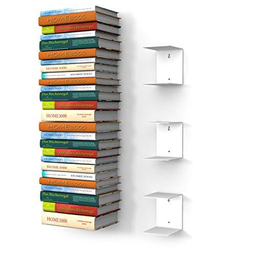 home3000 3 weisse unsichtbare Bücherregale mit 6 Fächern für große Bücher bis 30cm Tiefe und für 150cm hohen Bücherstapel