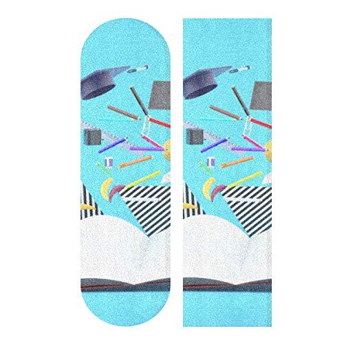 YUXB Materiale Scolastico Griptape Longboard Libro Galleggiante tra Fogli di Nastro Grip Skateboard, Carta vetrata per Rollerboard Antiscivolo 33,1'x 9,1' Pollici
