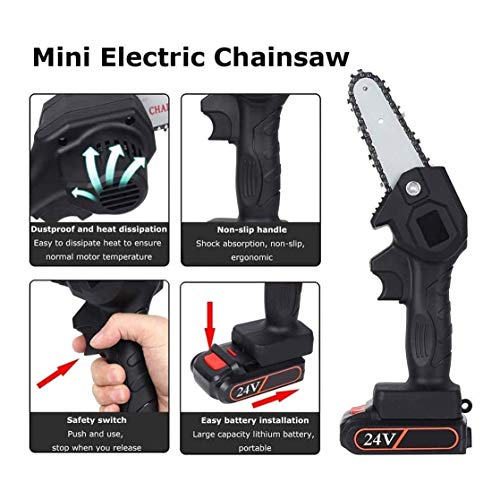 ATTDDP 550W Mini Chainsaw 4-Inch Cordless Electric Protable Chainsaw Pruning Shears Chainsaw,with Battery and Charger,for Courtyard Tree Branch Wood Cutting,A