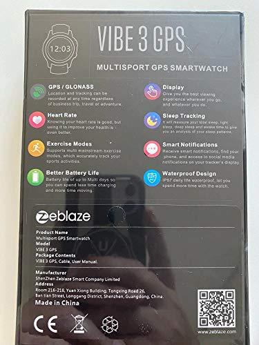 RELÓGIO ZEBLAZE VIBE 3 GPS SMARTWATCH INTELIGENTE GPS INTEGRADO PRETO NOVO 2020