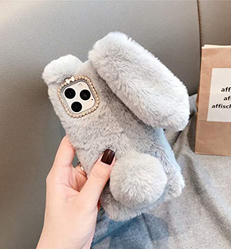 Losin Plush Case Compatible with Apple iPhone 11 Pro Max 6.5 inch Case Fashion Luxury Sparkling Diamond Fluffy 3D Rabbit Long Rabbit Ears Hair Ball Plush Soft TPU Case