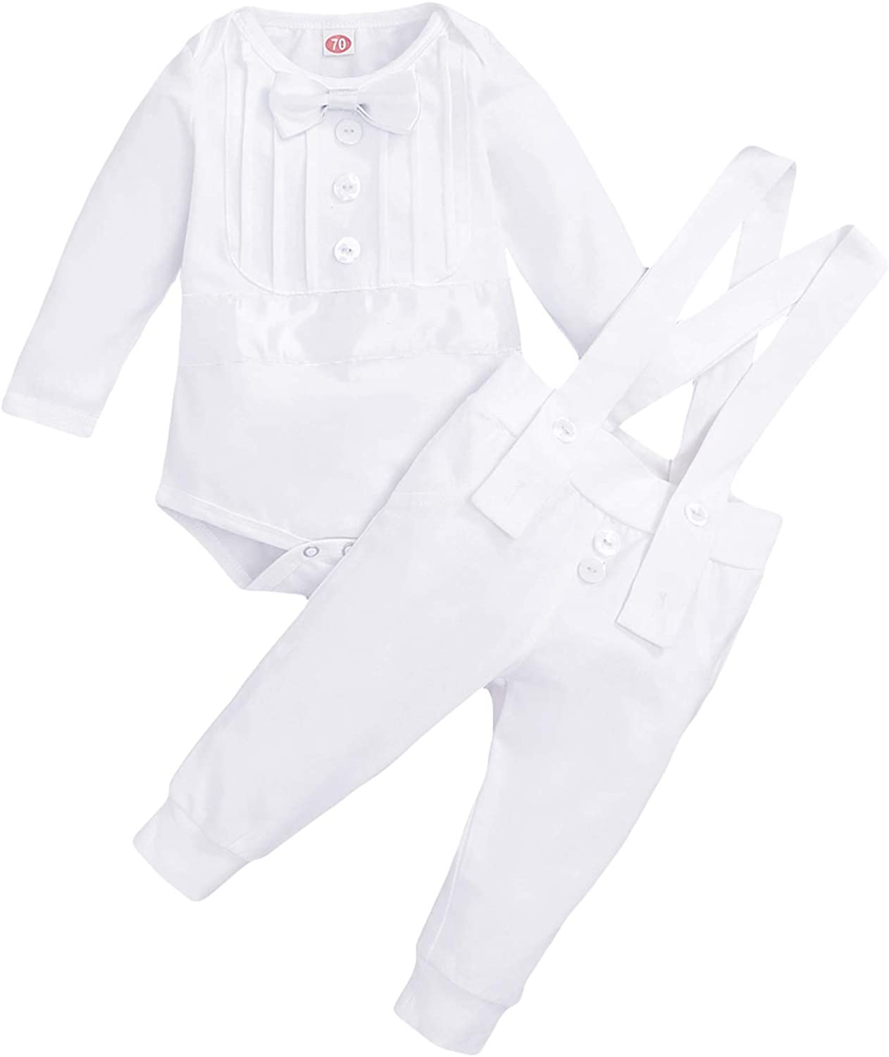Baby Boy Baptism Christening Outfit Gentleman Bowtie Romper Suspenders Pants Birthday Wedding Party Tuxedo Suit Clothes