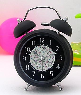 Ayzr Silenciar Alarma Pintura Moda 3 Pulgadas Slacker Silent Antique Dormitorio Salón Dormitorio,Reloj Negro