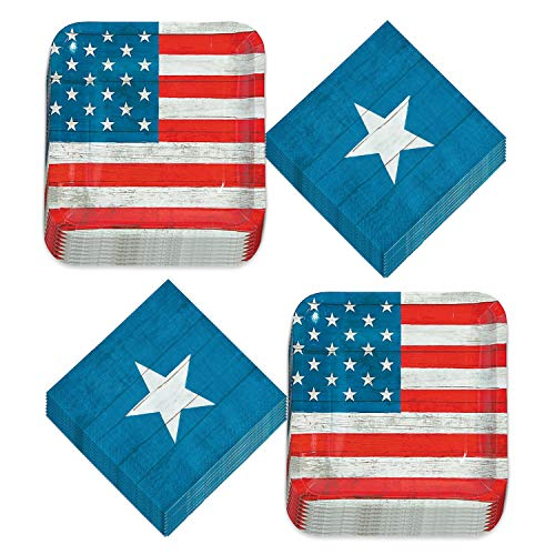 Patriotic Party Supplies for 4th of July, Memorial Day, and Veteran's Day (Rustic America Patriotic Party US Flag Stripe Paper Dinner Plates and Star Luncheon Napkins)