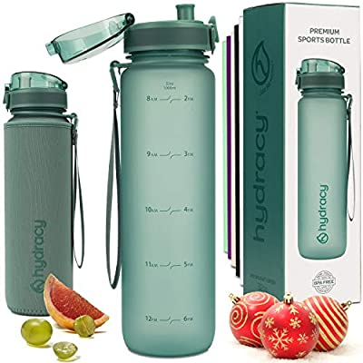 Hydracy Water Bottle with Time Marker -Large 1Liter 32oz BPA Free Water Bottle -Leak Proof & No Sweat Gym Bottle with Fruit Infuser Strainer -Ideal Gift for Fitness or Sports & Outdoors MoonlightGreen
