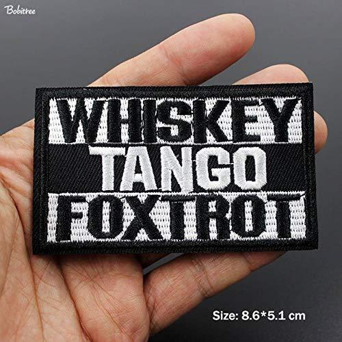 EMOHKCEB tactische moraal zwarte letters woorden logo opstrijkbare patches voor jasje jeans geborduurde badges DIY applique stickers, 1 stuks als foto