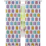YUAZHOQI Colorido Drape para puerta francesa, viaje vacaciones temáticas maletas con avión Eiffel simplista y corazón Doodles cortina impermeable para ventana 132 x 182 cm, multicolor