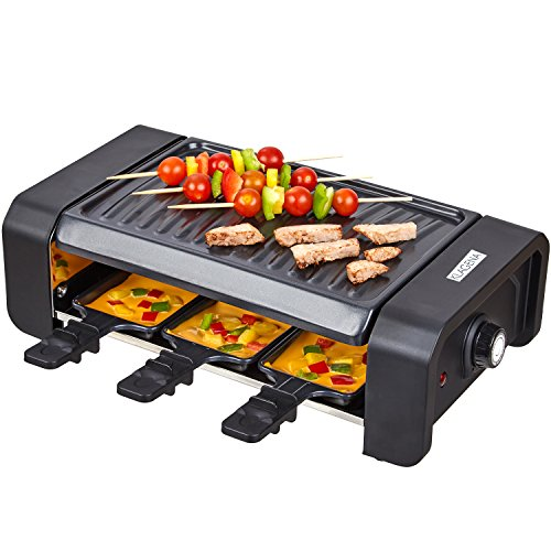KLAGENA Raclette Partygrill per 6 Persone, Piastra per Grigliare e pentolini da raclette, Piastra raclette, Raclette-Grill, Multi-Grill