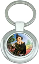 Wizard of Oz Scarecrow Character Classy Round Chrome Plated Metal Keychain