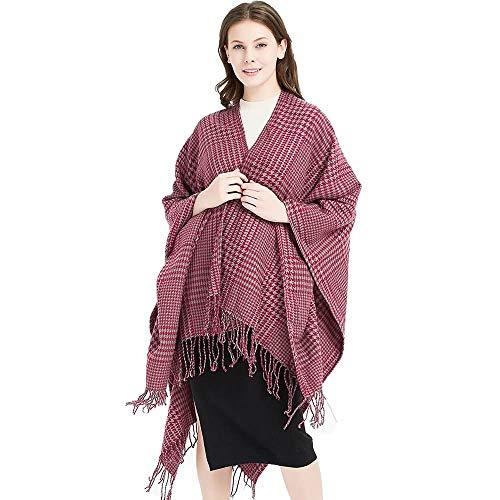 Frauen Hahnentritt-Langschals mit Quaste Übergroßer Schal Winter Warm Tartan Umhang Schal 175 × 120 cm #R13 (Farbe : 2, Größe : 175CM)