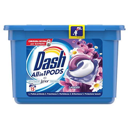 Dash 15 PODS All in1 Detersivo lavatrice in capsule Monodosi per Bucato, Lavanda, Semplici da Usare, Profumo Ottimale In 1 Solo Lavaggio, 15 lavaggi