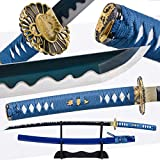 eroton 1045/1060/1095 high Carbon Cold Steel Heat Tempered Full Handmade Hand Forged Japanese Real Authentic Samurai Katana Sword,Full Tang,Functional,Practical,Sharp,Blue,2.7lb