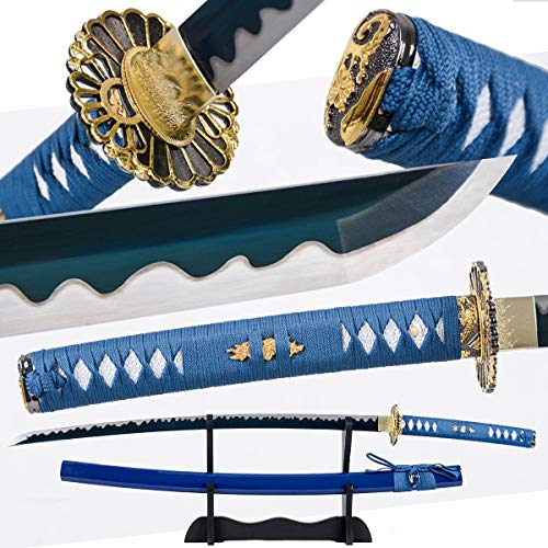 Eroton-1045/1060/1095 high Carbon Cold Steel Heat Tempered Full Handmade Hand Forged Japanese Real Authentic Samurai Katana Sword,Full Tang,Functional,Practical,Sharp,Blue,2.7lb …