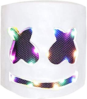 Syhonic LED DJ Mask Novelty Light Up Helmets Mask for Music Festival and Halloween Party Party Props Costume Masks(White)