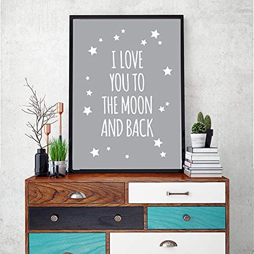 FTFTO Living Equipment Classic Quote I Love You To The Moon and Back Nursery Wall Art Canvas Painting Póster de Dibujos Animados Imágenes para Habitaciones de niños 70x90cm InnerFrame