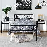 Yaheetech Einzelbettgestell Einzelbett Metallbett mit Lattenrost, Bettgestelle für Gästezimmer Schlafzimmer 90 x 200 cm