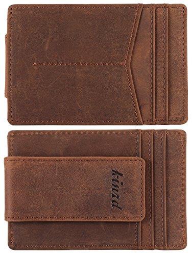 Money Clip Crazy Horse Leather Slim Minimalist Wallet for Men RFID Blocking Strong Magnet Money Clips Front Pocket Wallet