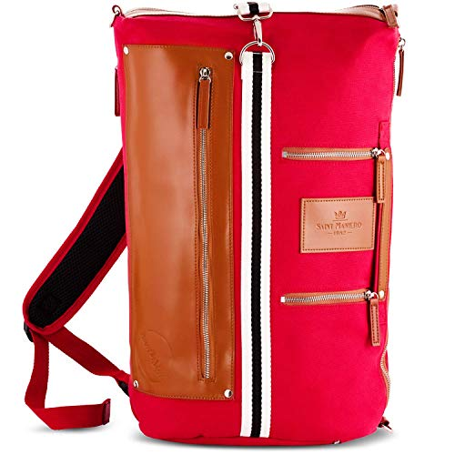 Saint Maniero Rucksack Damen Rucksack Herren Schulrucksack Mädchen Schulrucksack Jungen Laptop Backpack Tagesrucksack Daypack Laptoprucksack Uni Rucksack Uni Tasche Schultaschen (Rot)
