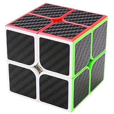 Coolzon Puzzle Cube 2x2x2 Cubo Magico con Pegatina de Fibra de Carbono Velocidad de Coolzon