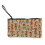 Monedero de lona para mujer afroamericana étnica de viaje y maquillaje lápiz con asa bolsa de lona con cremallera bolsa de aseo portátil
