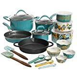The Pioneer Woman Frontier Speckle with Rose Shadow 24-Piece Cookware & Food Storage Combo Set, Turquoise Limited Edition