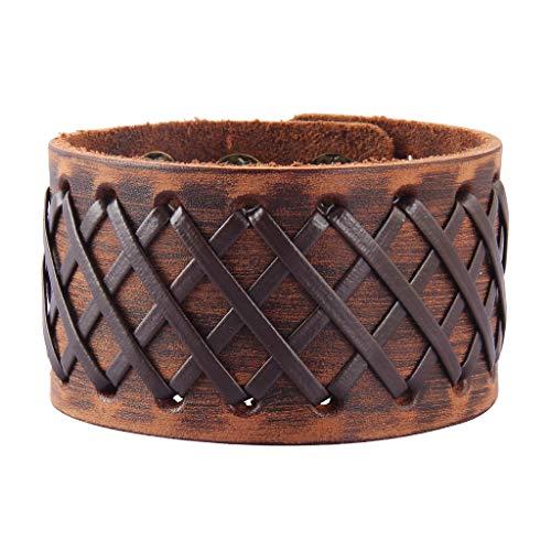 Original Tribe Hombres antiguos cuero marrón Brazalete