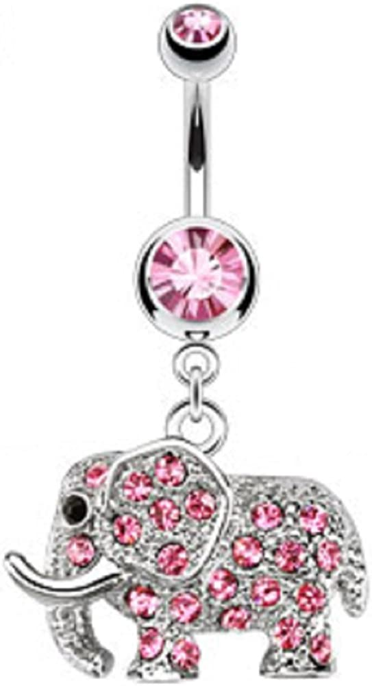 Belly Houston Mall Button Ring 316L Surgical Steel famous D Multi Elephant CZs Paved
