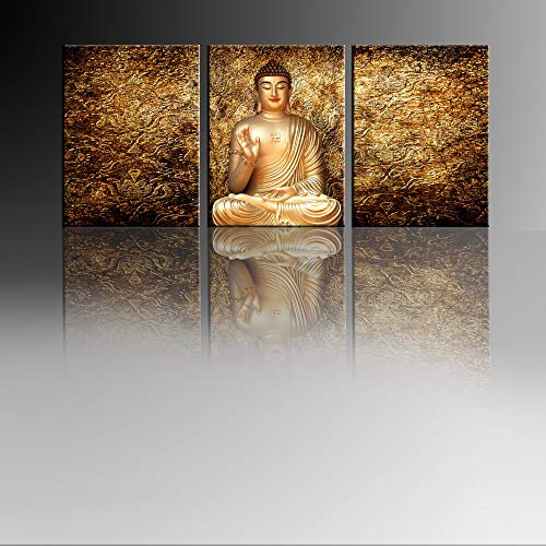 HappyHouseArt 3 Panel Golden Abstract Budda Canvas Wall Art/Budda Canvas Wall Print/Budda Wall Picture for Home Decoration Framed Ready to Hang