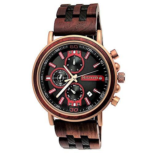 Handgefertigte Holzwerk Germany® Designer Herren-Uhr Öko Natur Holz-Uhr Chronograph Armband-Uhr Analog Quarz-Uhr Braun Rose Gold Datum Holz Ziffernblatt
