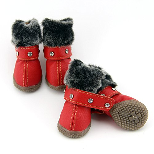 ZeroTone Warm Dog Snow Boots Waterproof Anti-Slip Small Dog Puppy Cat Winter Boots Pet Shoes 2 Styles #1-#5 (#2, Rhinestone Style - Red)